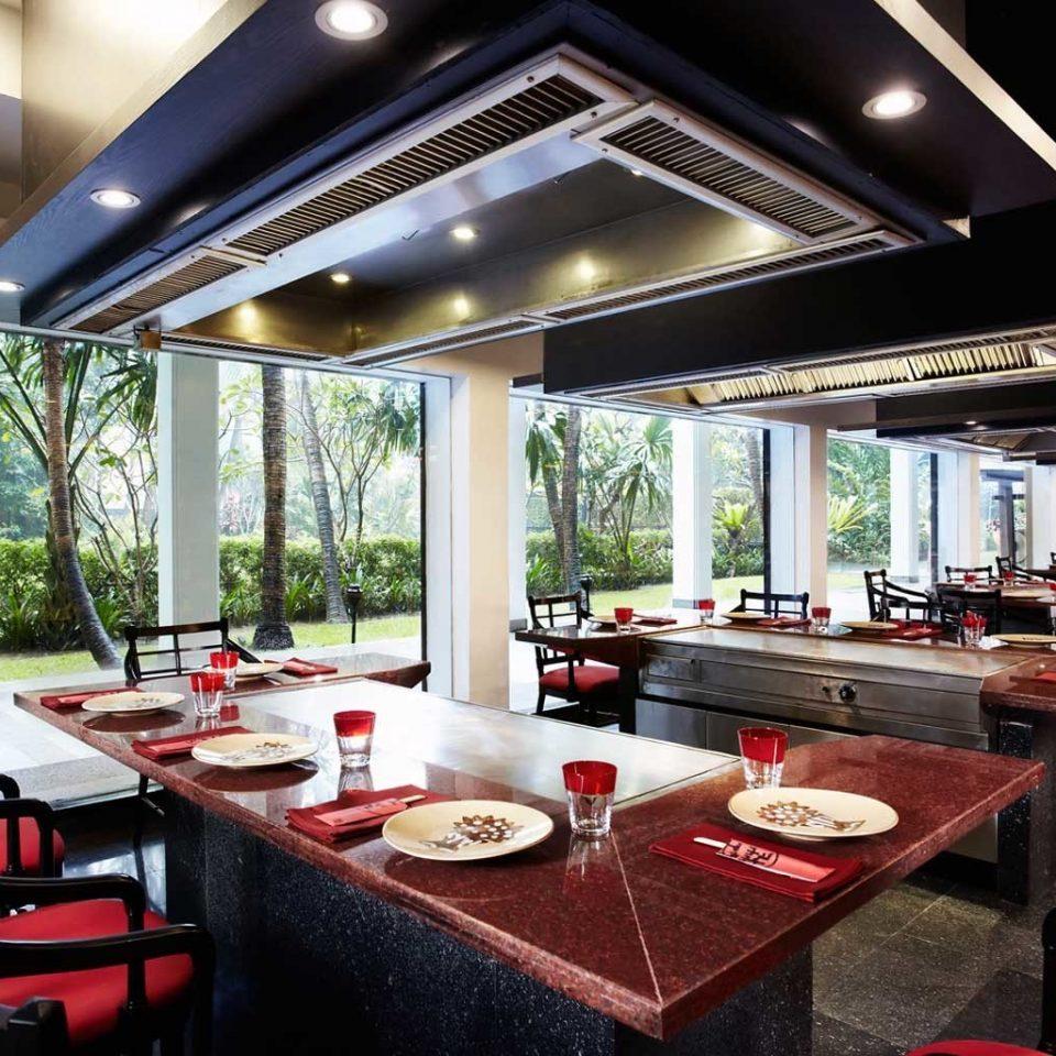 Bar Dining Drink Eat Elegant Hip restaurant red Resort function hall vehicle yacht Island dining table