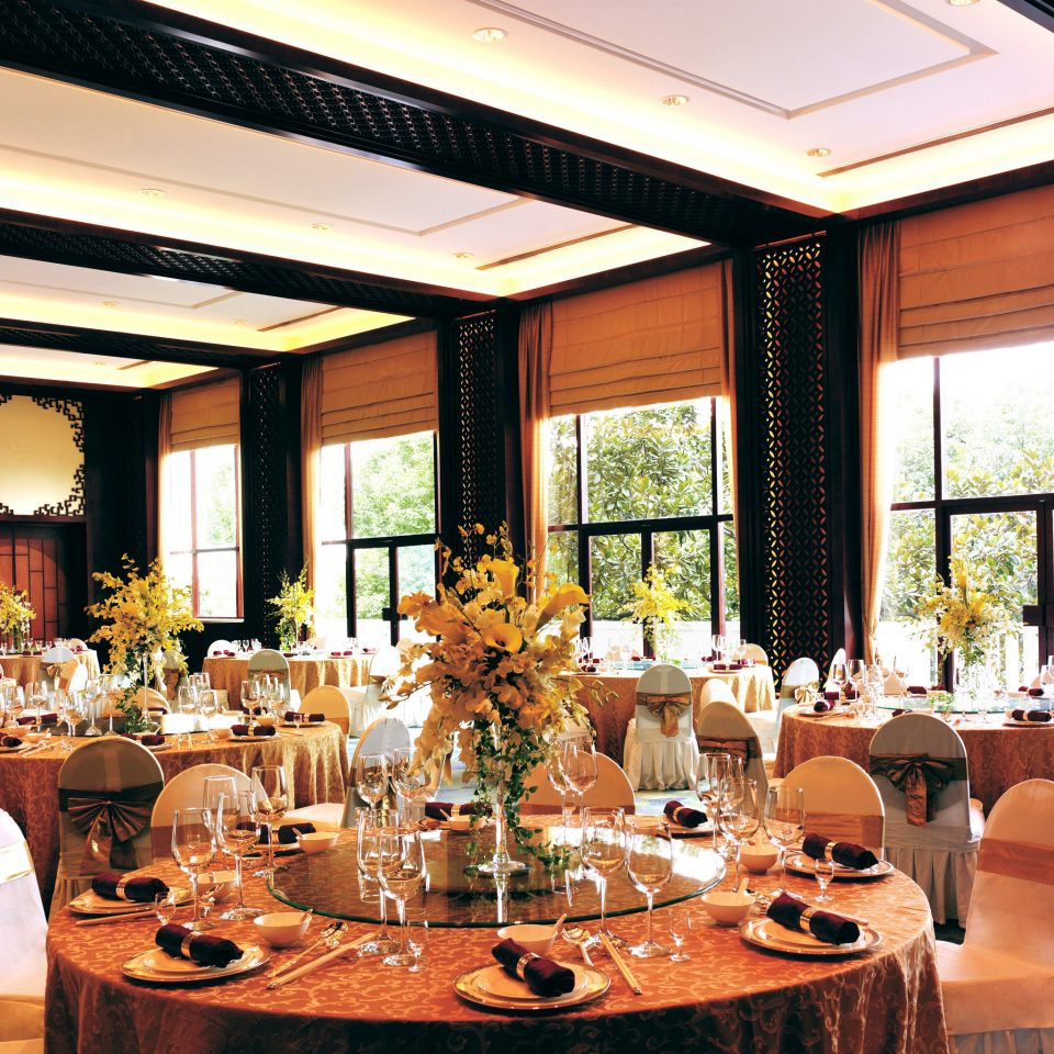 Dining Drink Eat Elegant Scenic views function hall restaurant Resort wedding reception ballroom dinner Bar dining table