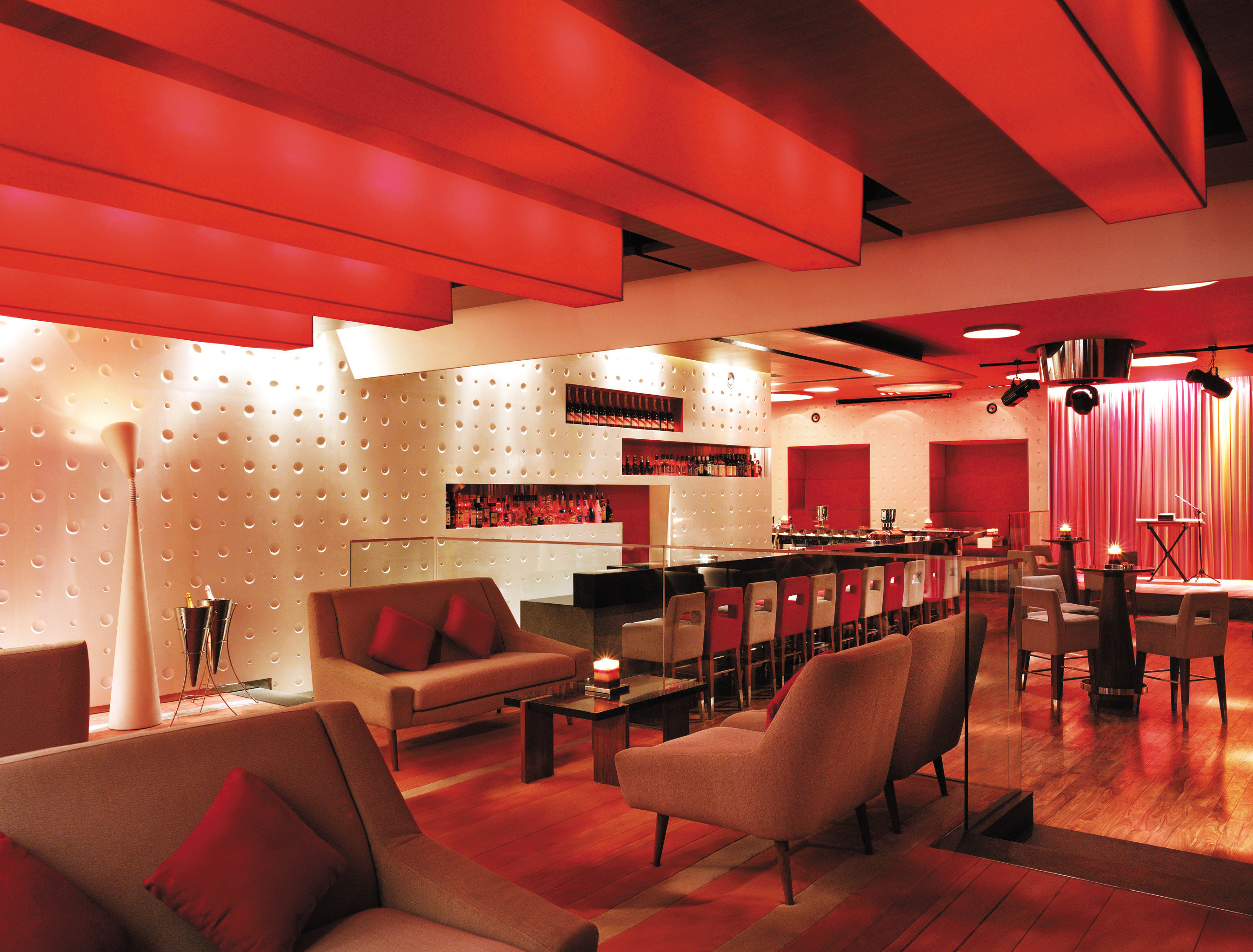 Bar Dining Drink Eat Modern red chair Lobby restaurant recreation room lighting function hall