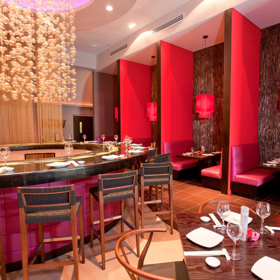Bar Dining Drink Eat Hip Luxury Modern Romantic chair restaurant function hall red Suite Resort ballroom dining table