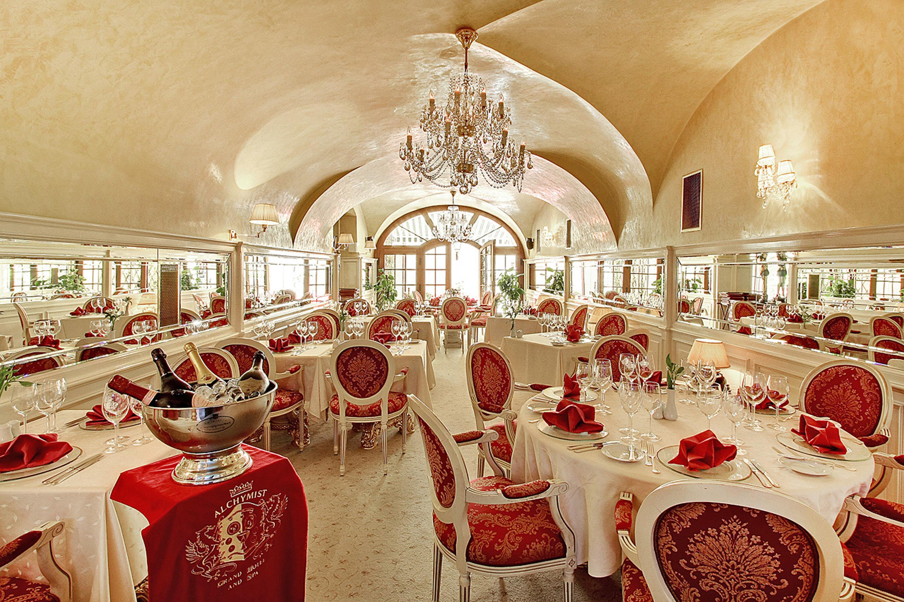 Bar Dining Drink Eat Elegant Historic Luxury aisle function hall wedding red ceremony restaurant ballroom banquet palace wedding reception set
