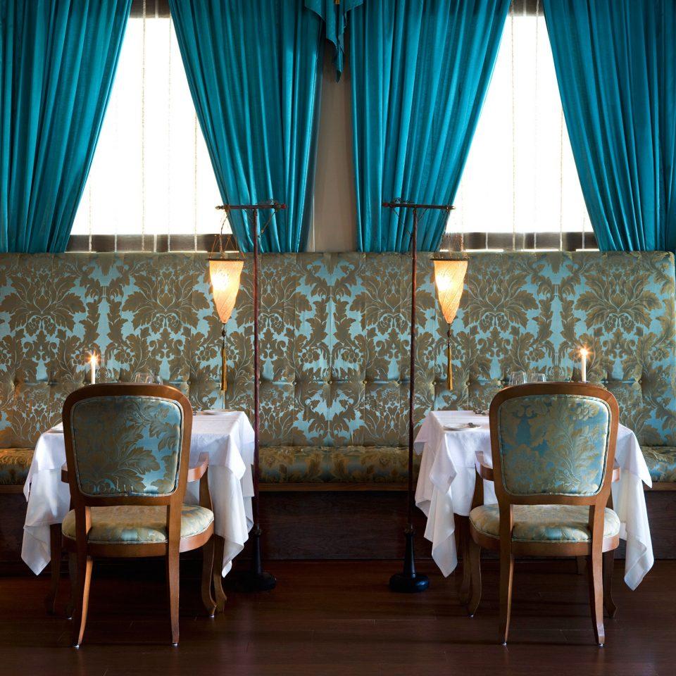 Bar Dining Drink Eat Elegant Hip Hotels Romantic blue curtain Suite living room textile window treatment