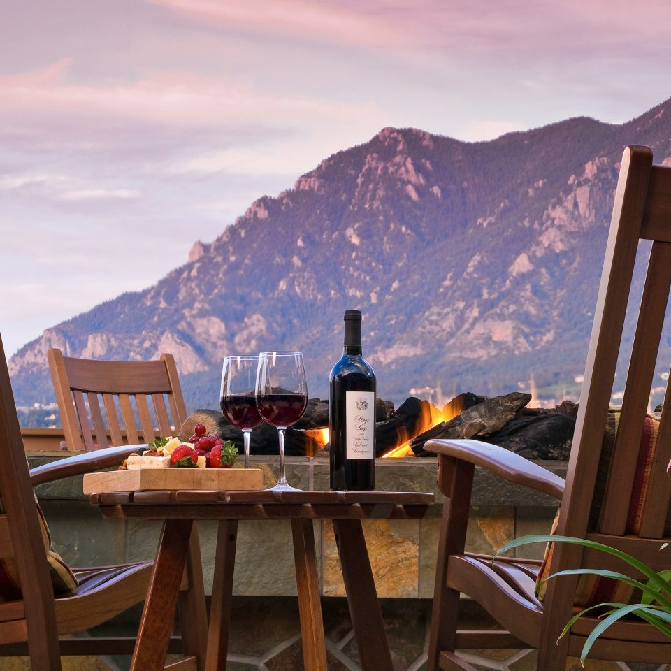 Bar Dining Drink Eat Luxury mountain sky chair house season morning home Resort cottage seat set overlooking surrounded dining table