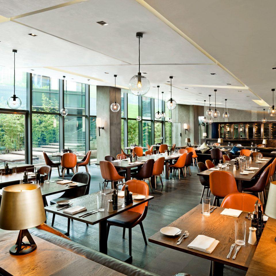 Bar Dining Drink Eat Modern orange restaurant cafeteria café Resort conference hall