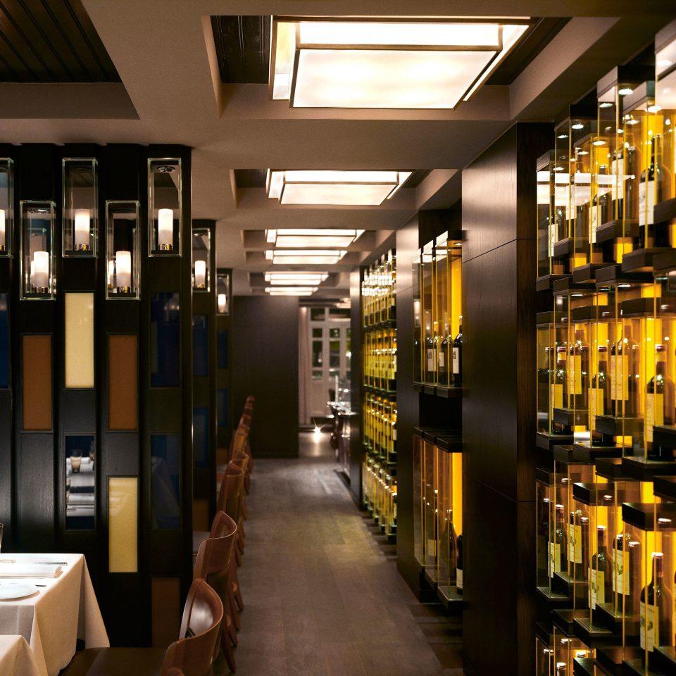 Bar Dining Drink Eat Hip Lounge Luxury Modern bottle lighting restaurant long empty lined