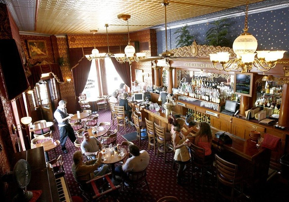 Bar Dining Drink Eat Historic Resort restaurant cluttered
