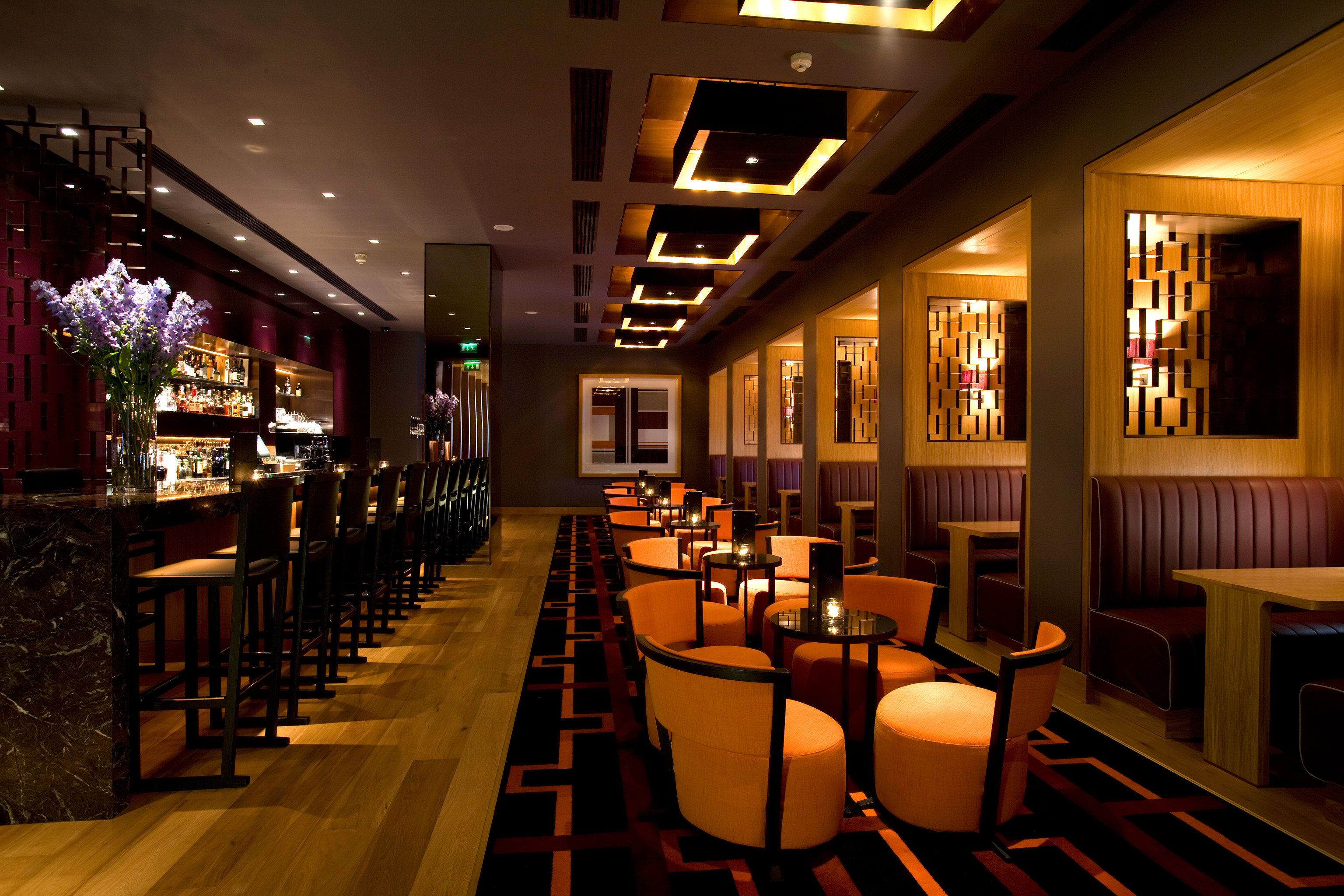 Bar Dining Drink Eat Luxury Modern restaurant function hall café long empty lined