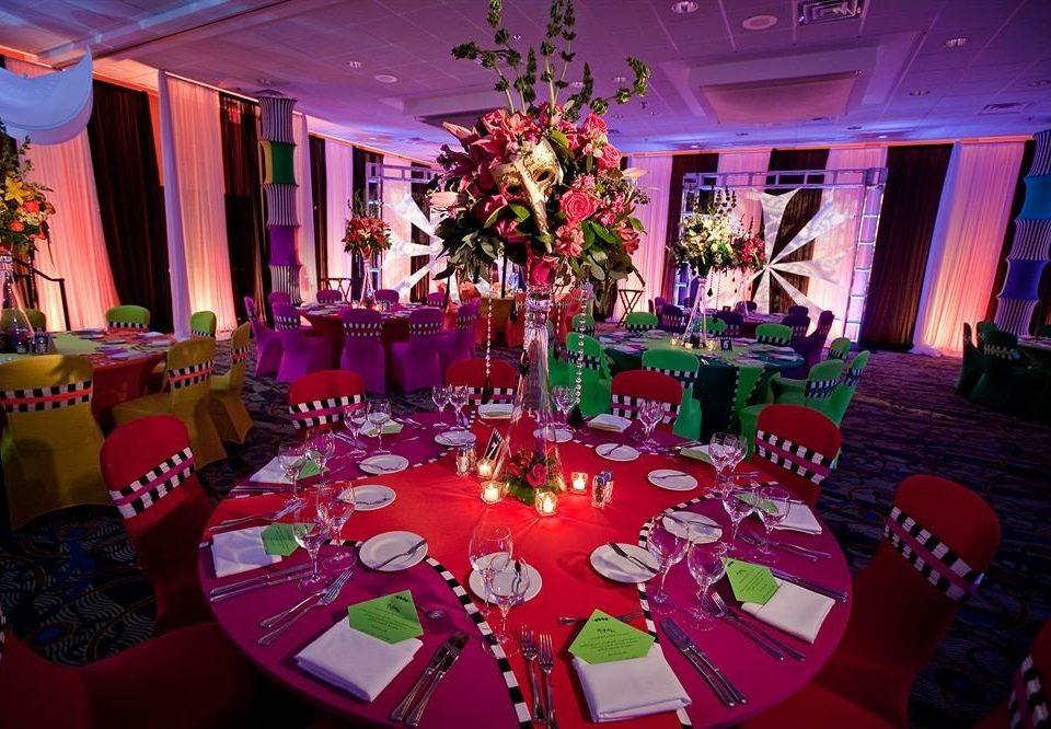 Bar Dining Drink Eat Hip Modern function hall quinceañera banquet Party red wedding reception nightclub ballroom dining table