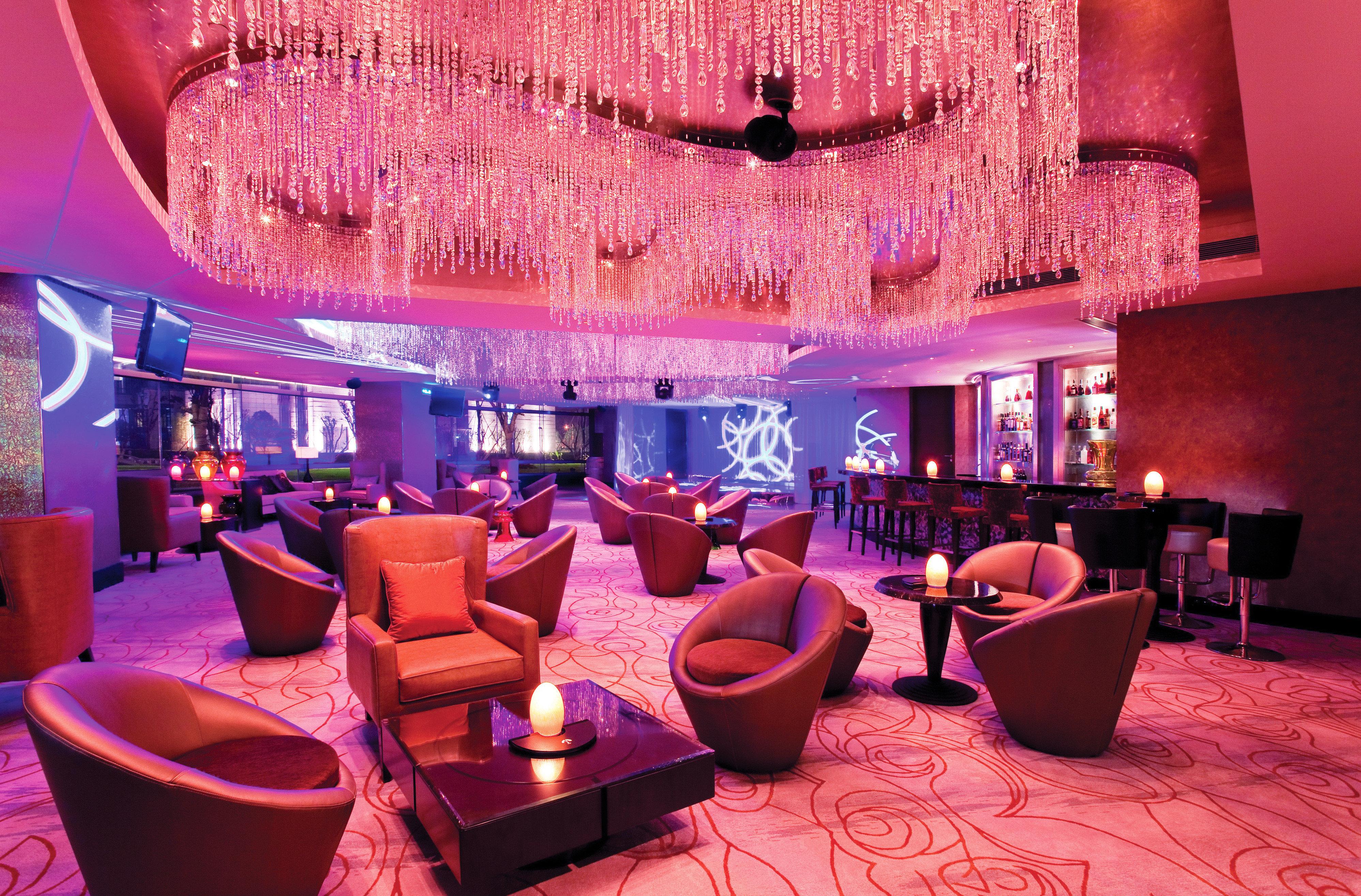 Bar Dining Drink Eat Lounge Luxury Modern red restaurant nightclub pink function hall Resort Lobby