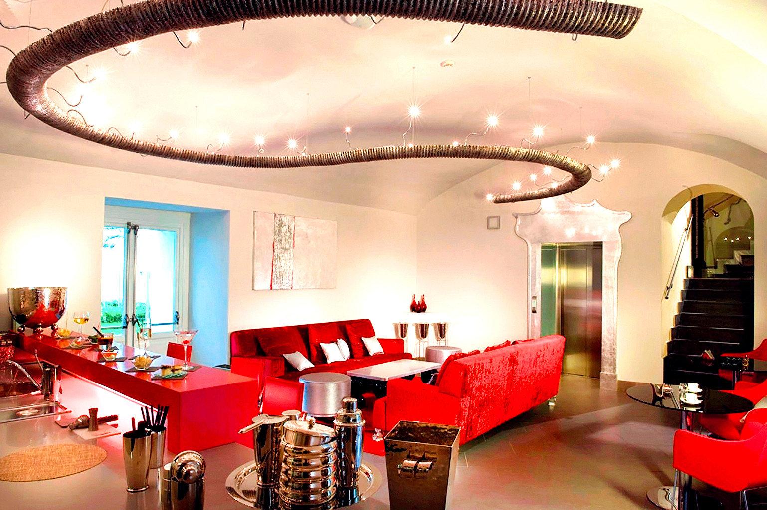 Dining Drink Eat Modern Resort red restaurant Lobby Bar function hall living room leather