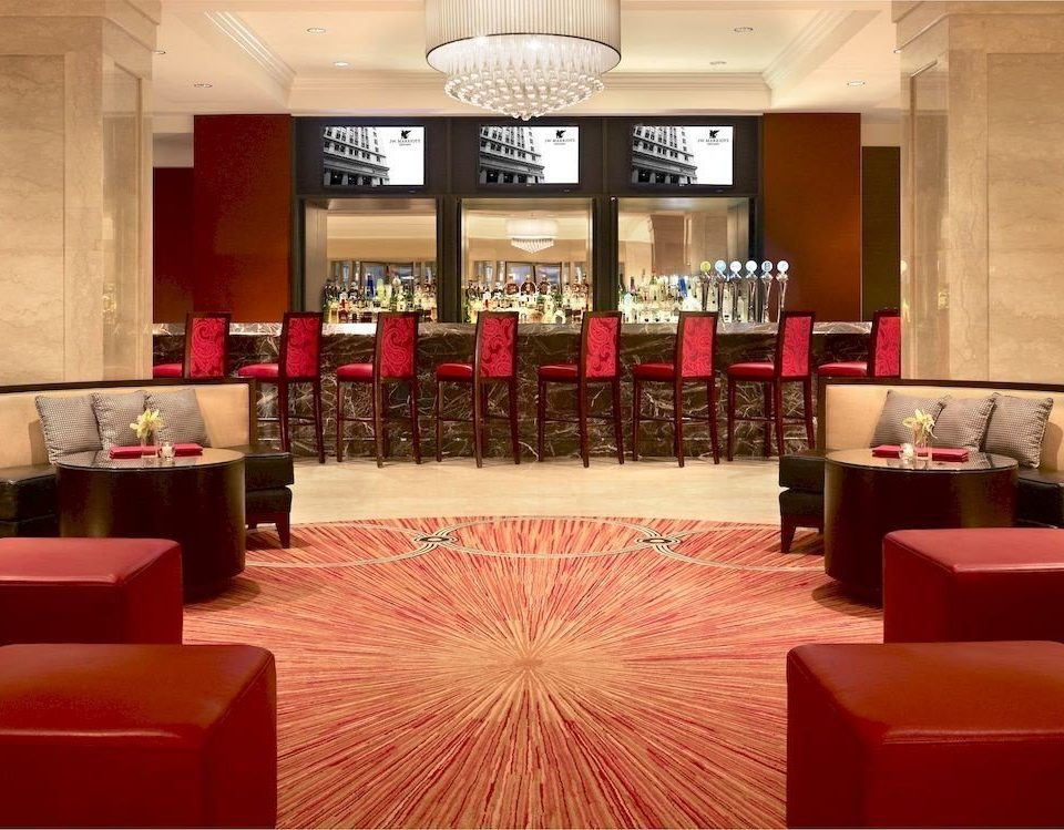 Bar Dining Drink Eat Hip Modern red Lobby function hall auditorium conference hall restaurant ballroom convention center flooring