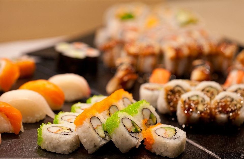 Bar Dining Drink Eat Modern sushi food cake cuisine gimbap asian food piece slice california roll hors d oeuvre japanese cuisine dessert close toppings sliced