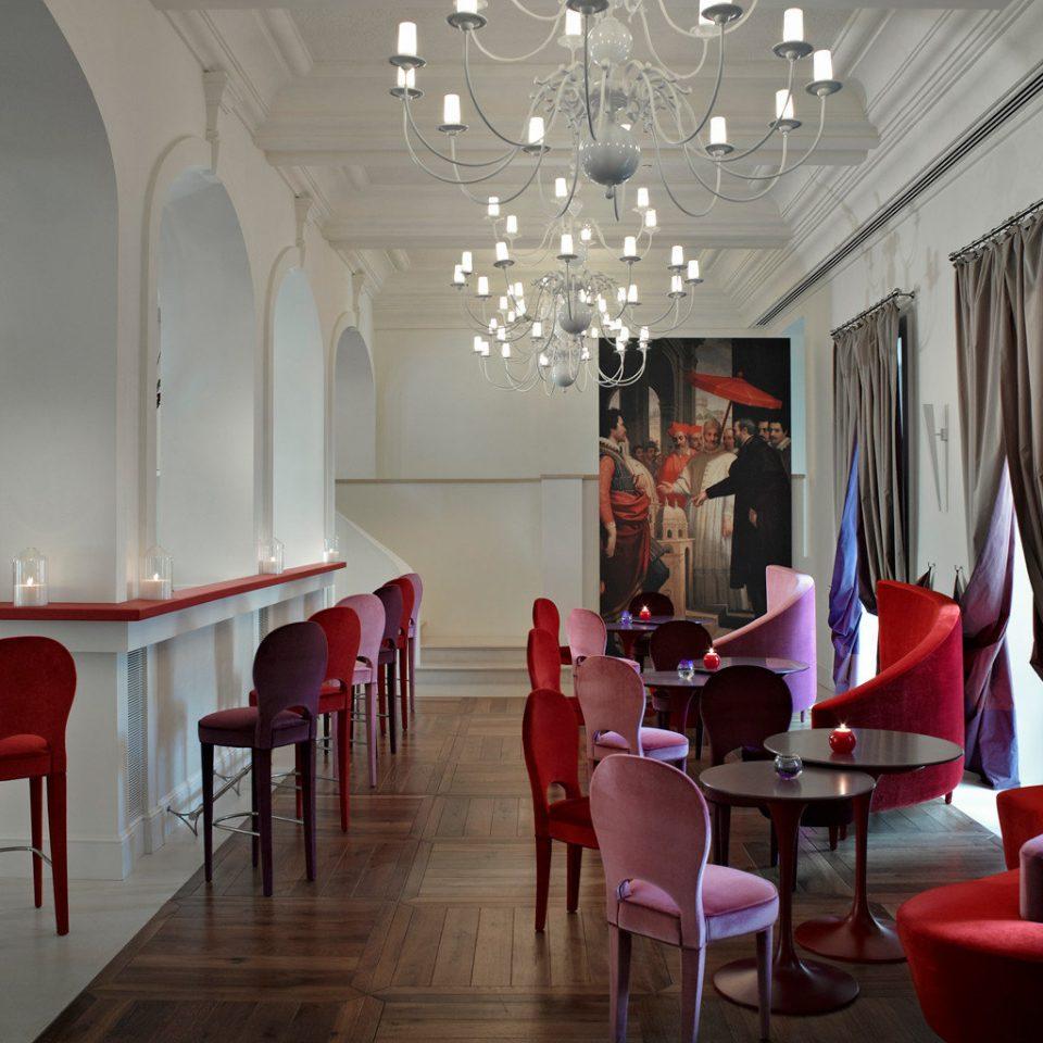 Bar Drink Eat Elegant Modern Nightlife chair red restaurant Lobby Dining function hall dining table
