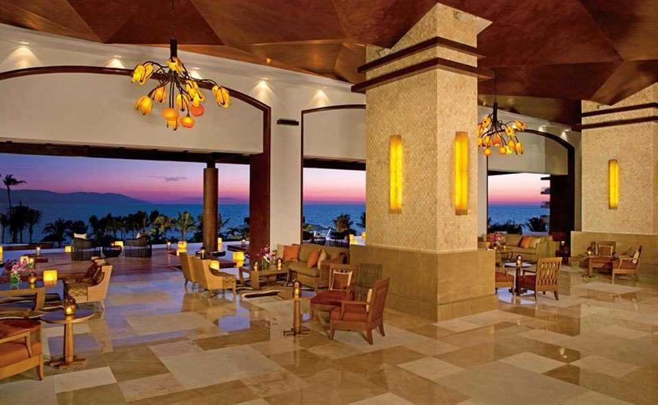 Bar Dining Drink Eat Elegant Hip Luxury Scenic views Resort Lobby restaurant function hall hacienda Villa palace