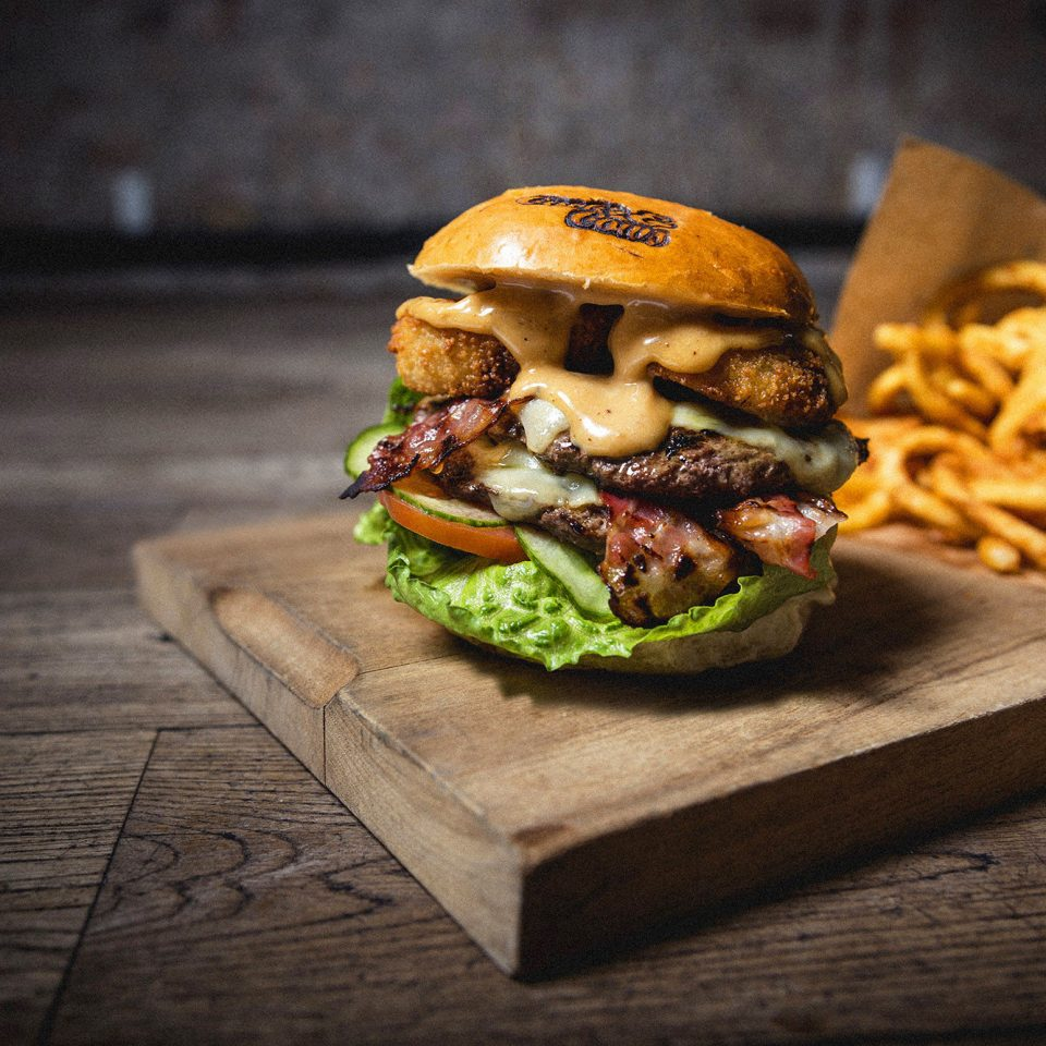 Bar Dining Drink Eat Hip Luxury Modern food hamburger wooden board sandwich snack food meat cuisine