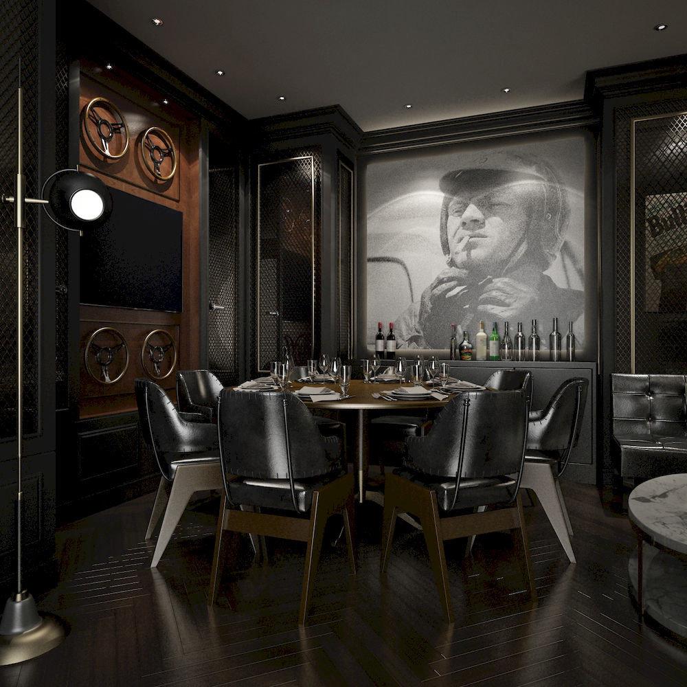 Bar Dining Drink Eat Elegant Hip Luxury chair property restaurant lighting home living room dining table