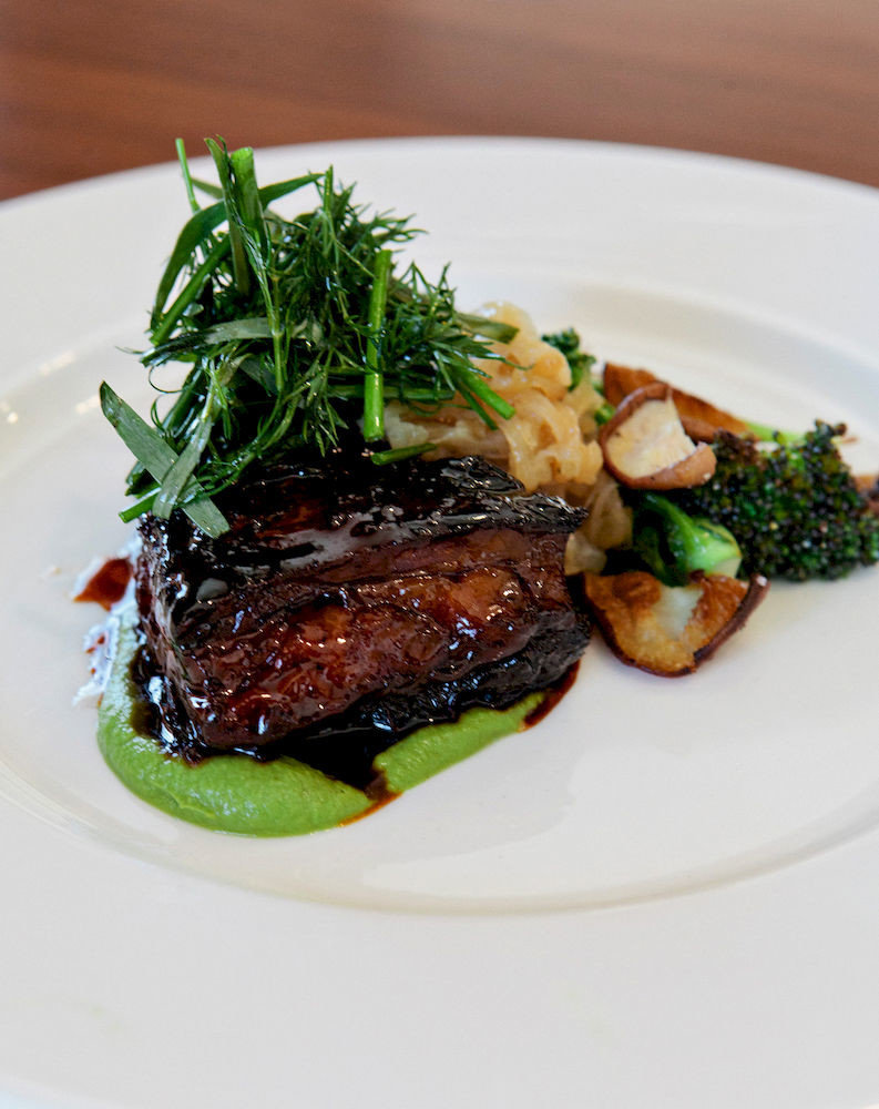 Bar Dining Drink Eat Elegant Hip Luxury plate food white meat vegetable steak fish cuisine dinner served piece de resistance square