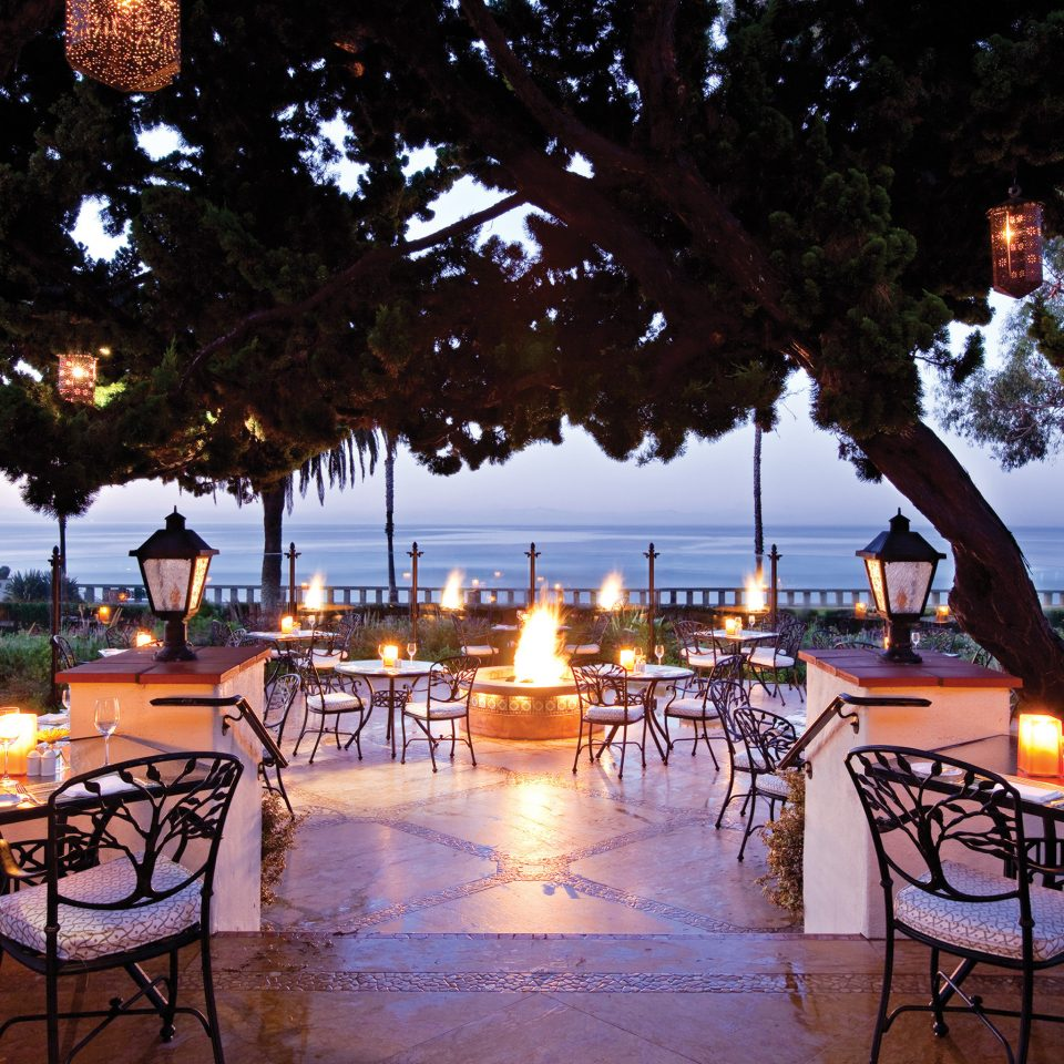 Bar Dining Drink Eat Luxury tree Resort restaurant evening lined set surrounded