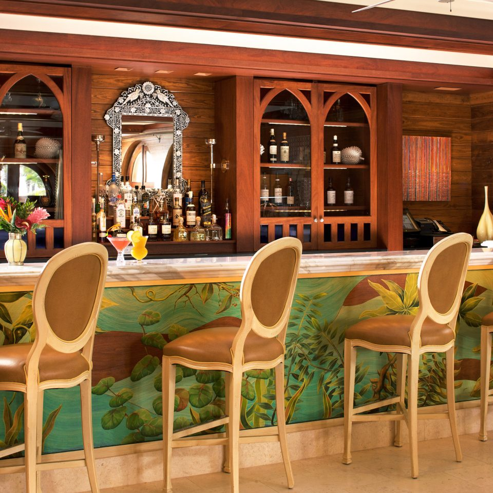 Bar Dining Drink Eat Luxury Tropical chair restaurant wooden function hall home Lobby Resort café Island dining table