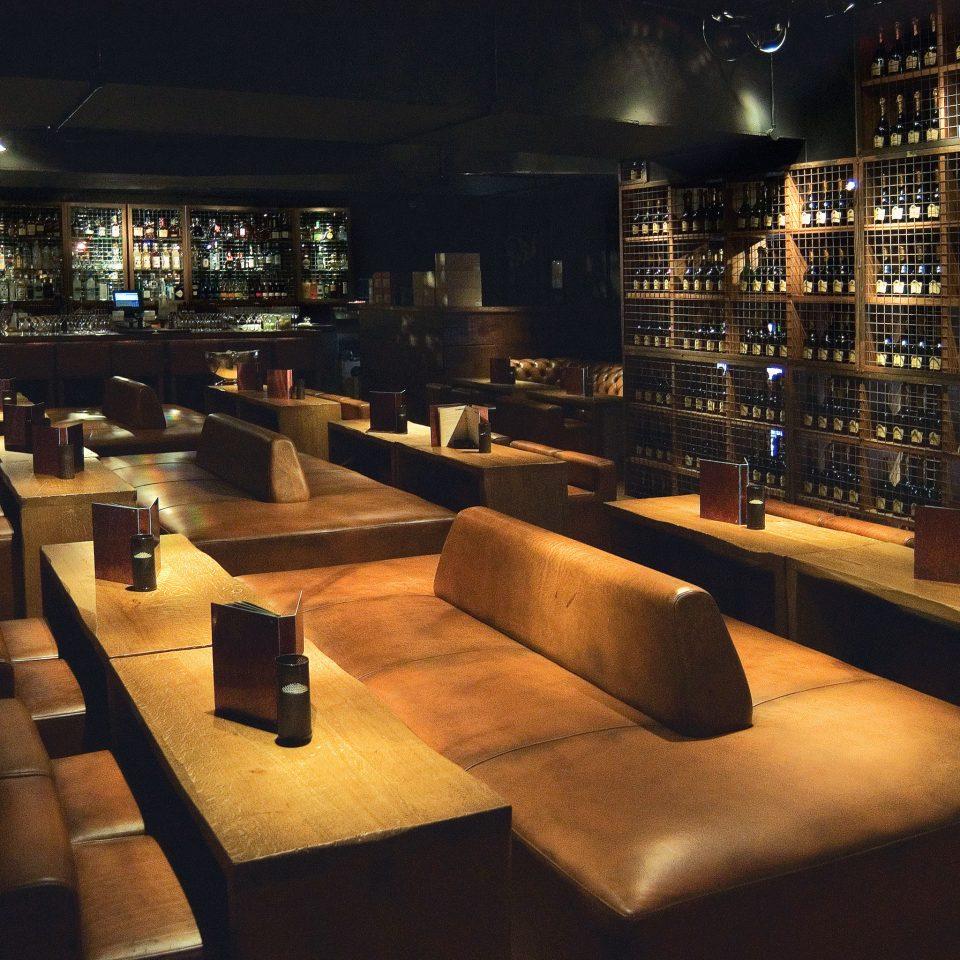 Bar Dining Drink Eat Hip Modern restaurant basement lined