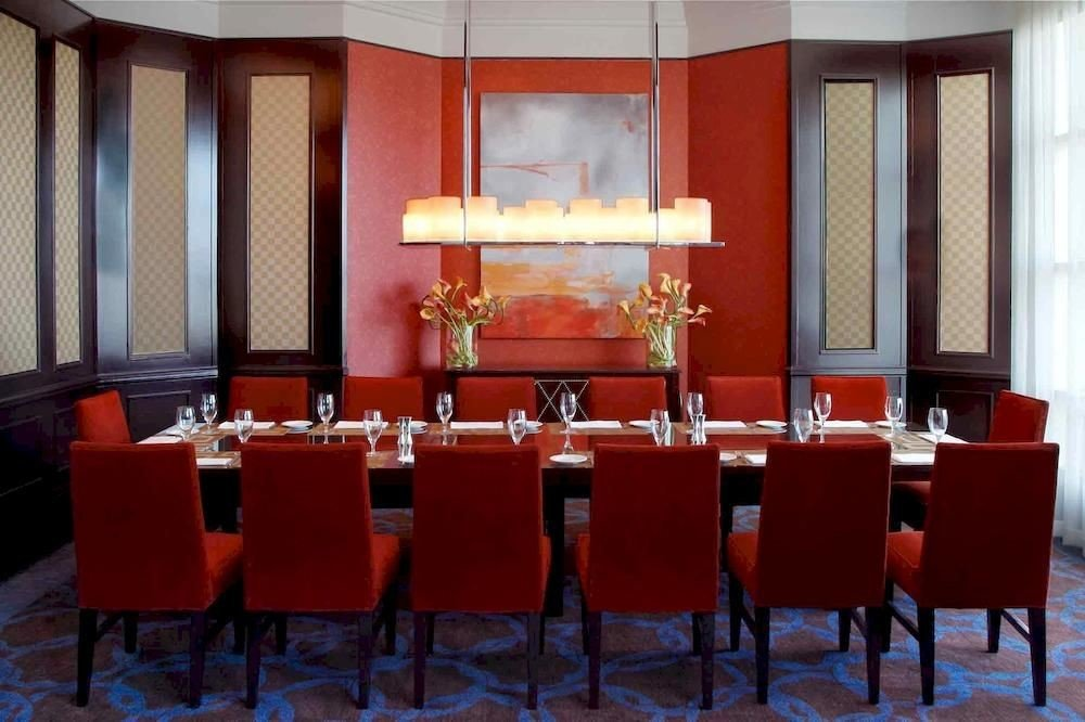 Bar Dining Drink Eat Luxury Modern red restaurant function hall conference hall Suite colored dining table