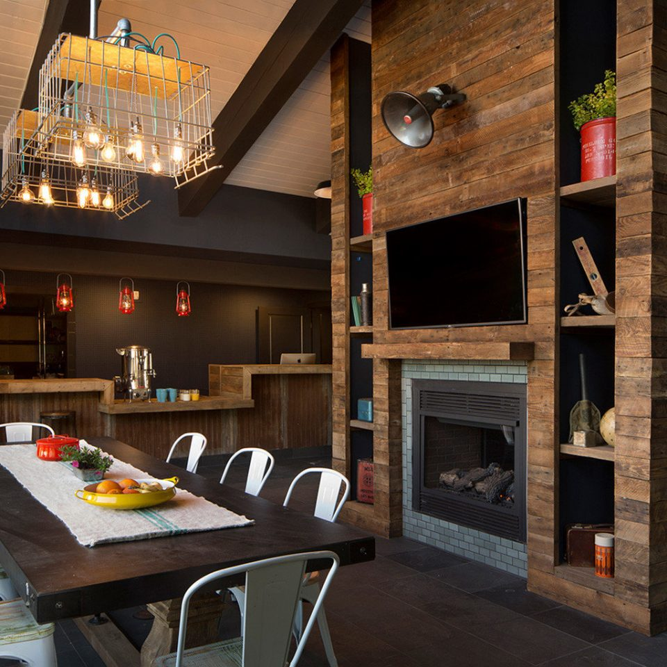 Dining dining table Fireplace restaurant living room Bar