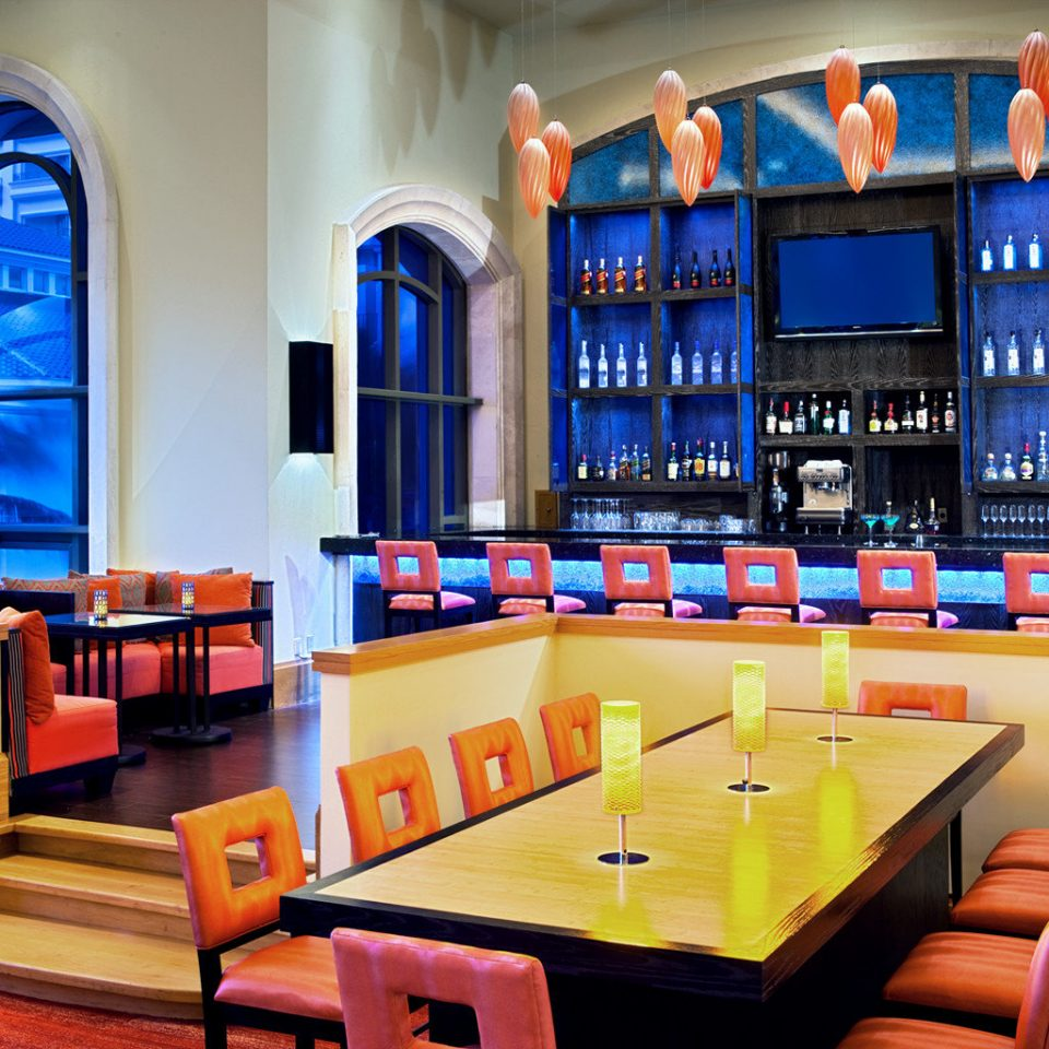 Dining Resort recreation room orange Bar restaurant colorful colored