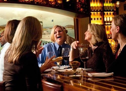 woman dinner restaurant group Bar lunch drinking