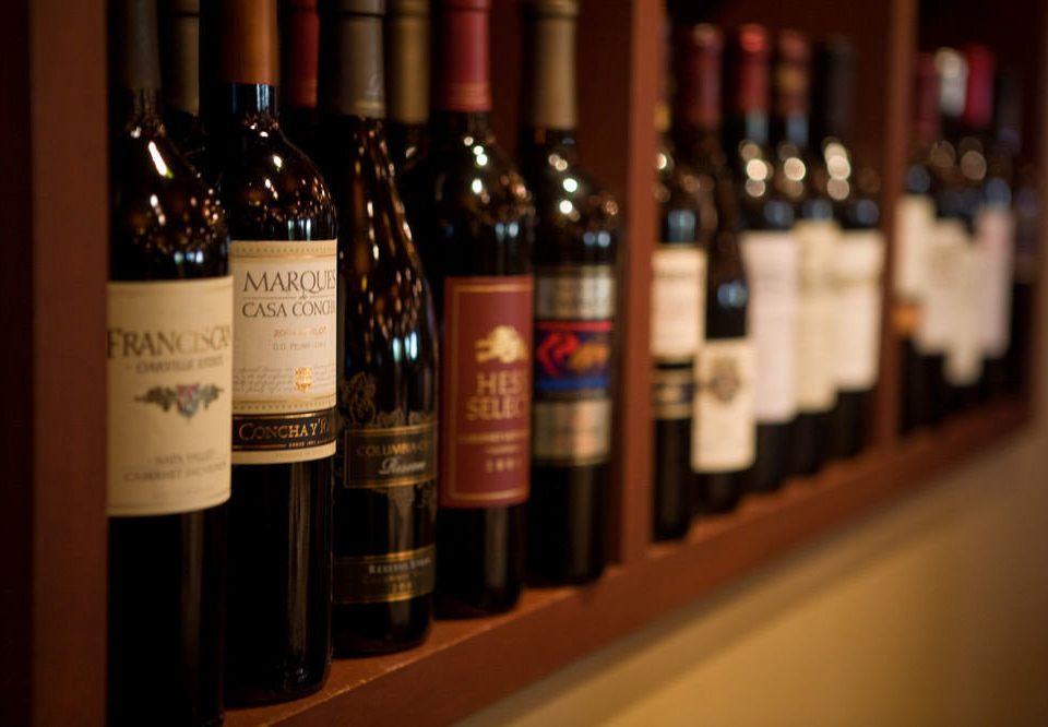 bottle wine alcoholic beverage Drink food beverage alcohol shelf empty Bar lined line