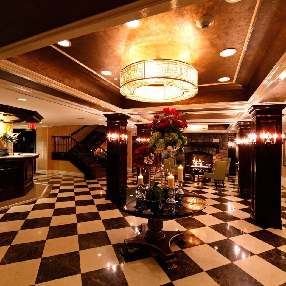 Elegant Inn Lobby Lounge Luxury black restaurant recreation room Bar tile tiled