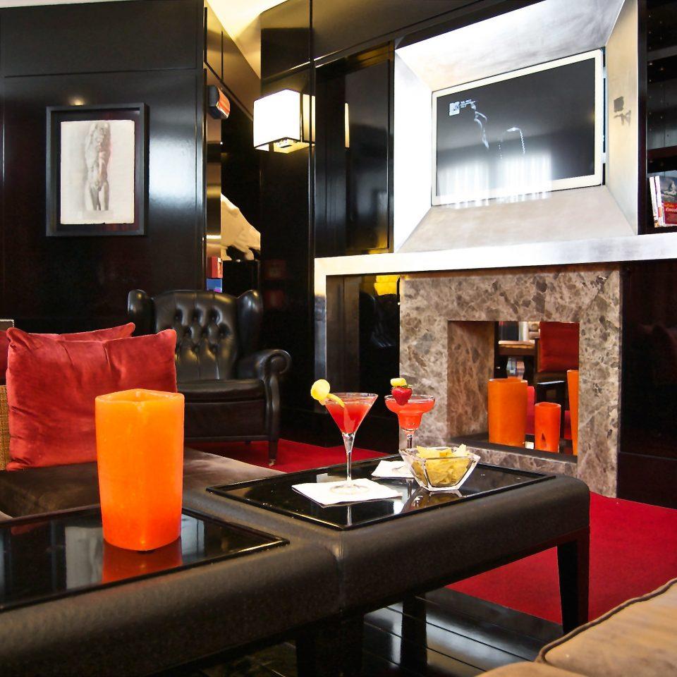 Fireplace Lounge Modern living room restaurant Lobby Bar Suite orange