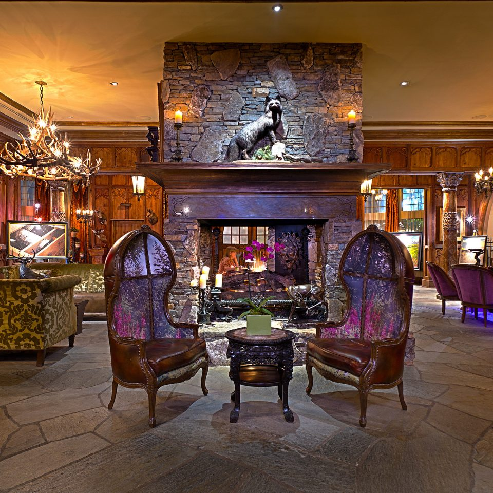 Fireplace Lounge Luxury Rustic Lobby restaurant recreation room Bar mansion palace