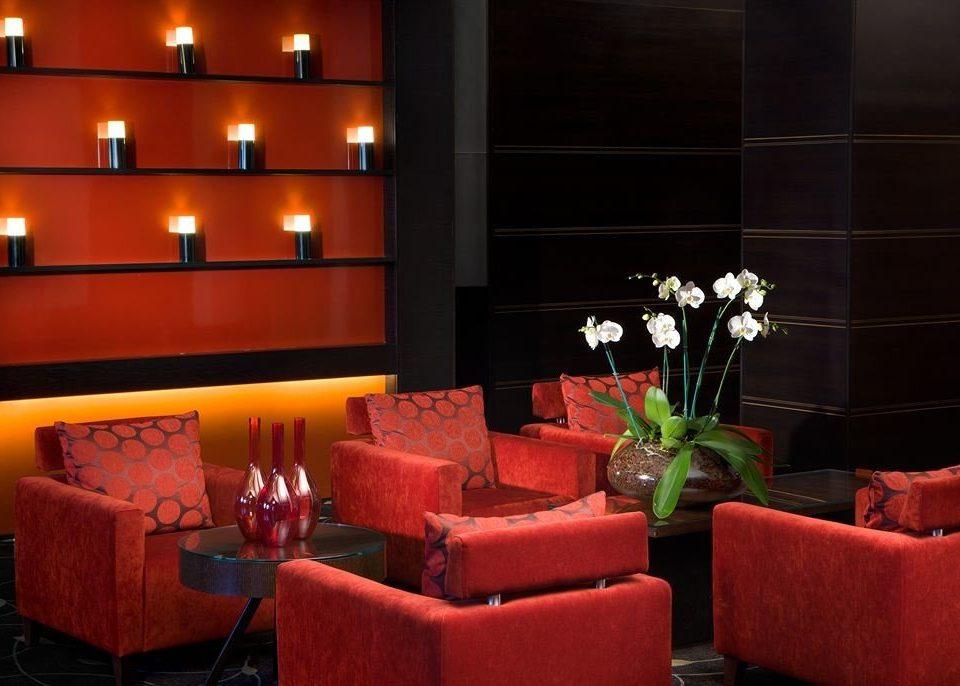 sofa red restaurant lighting function hall Bar living room orange set leather