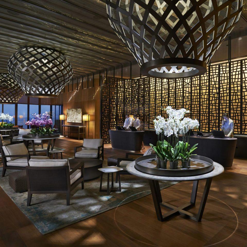 Hip Lounge Luxury Modern Scenic views Lobby restaurant lighting living room Bar