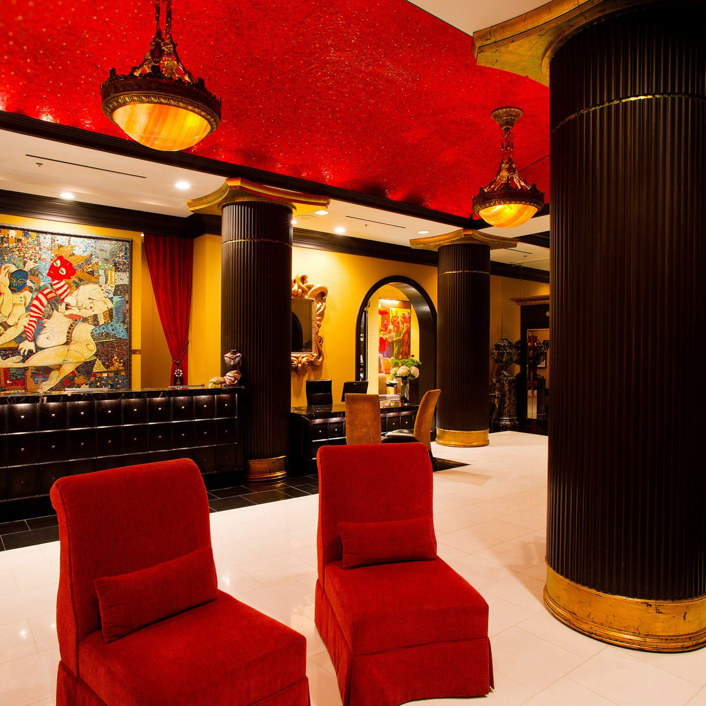 Hip Lounge Luxury Modern red restaurant Lobby Bar