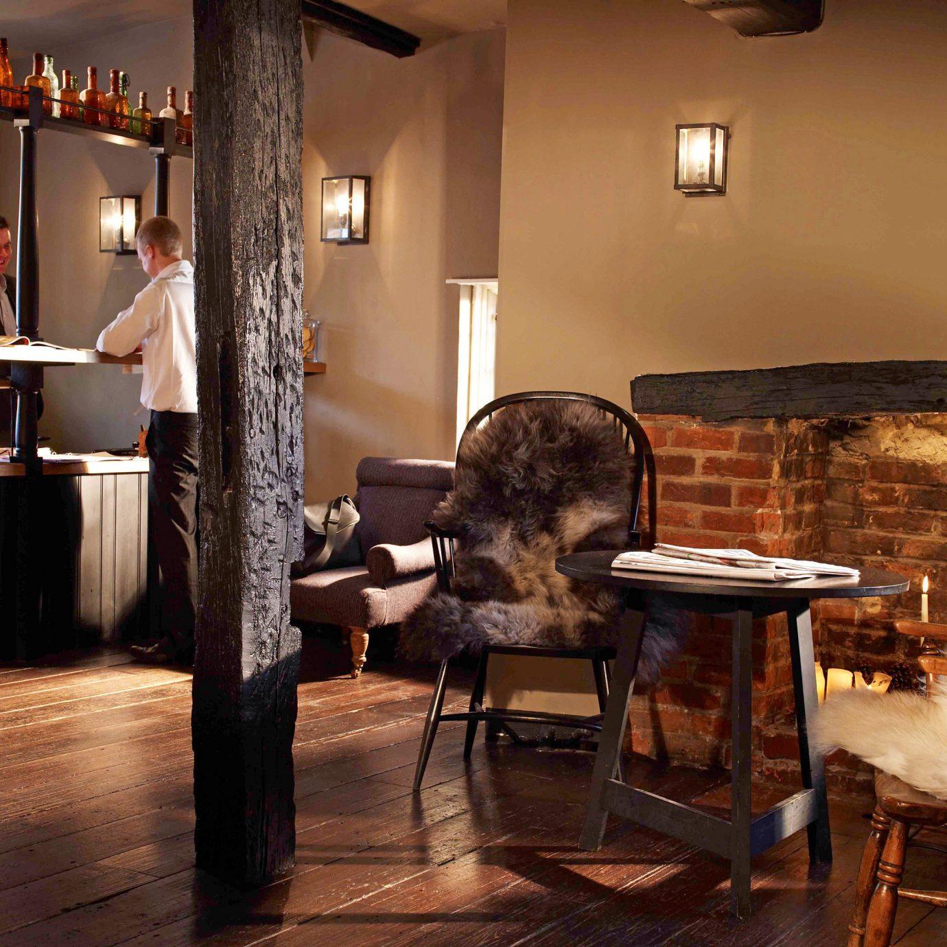Bar Inn Rustic home living room flooring cottage restaurant cluttered