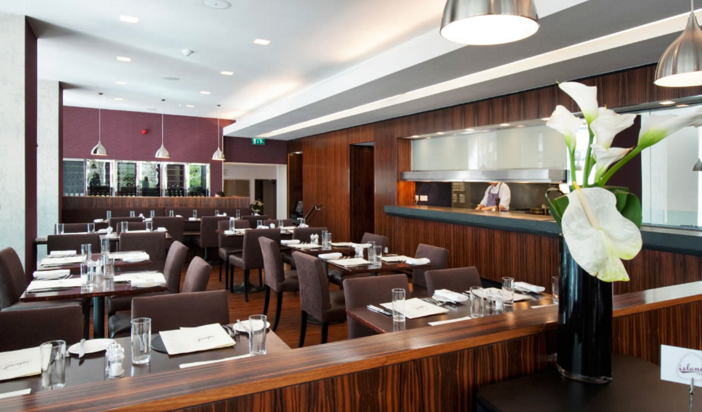 restaurant function hall conference hall cafeteria Island Modern Bar