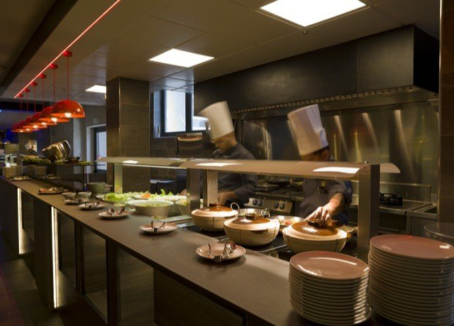 Kitchen restaurant food buffet cuisine café Bar cafeteria function hall