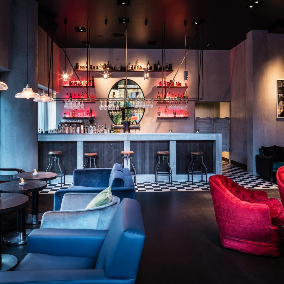 red restaurant Bar Lobby café bright lamp