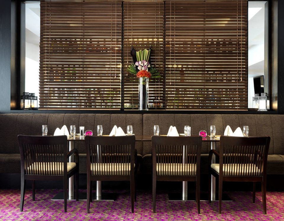 purple restaurant Lobby Bar dining table
