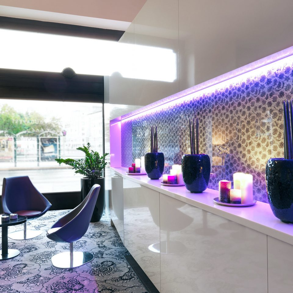 Lobby Lounge Modern lighting restaurant Bar purple