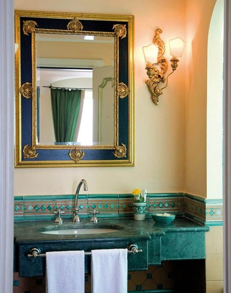 bathroom mirror sink blue home bathroom cabinet cabinetry plumbing fixture Bath tub painted tile tiled painting