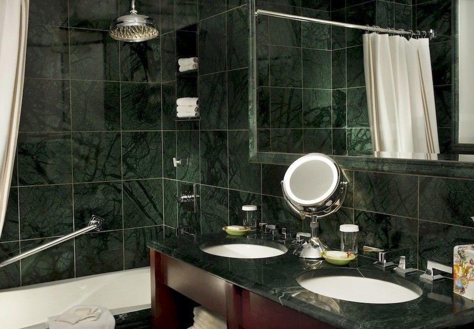bathroom sink mirror house home tub counter glass plumbing fixture Bath bathtub tile tiled
