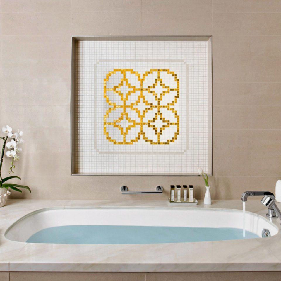bathroom sink mirror bathtub flooring tile plumbing fixture toilet daylighting tub Bath tiled