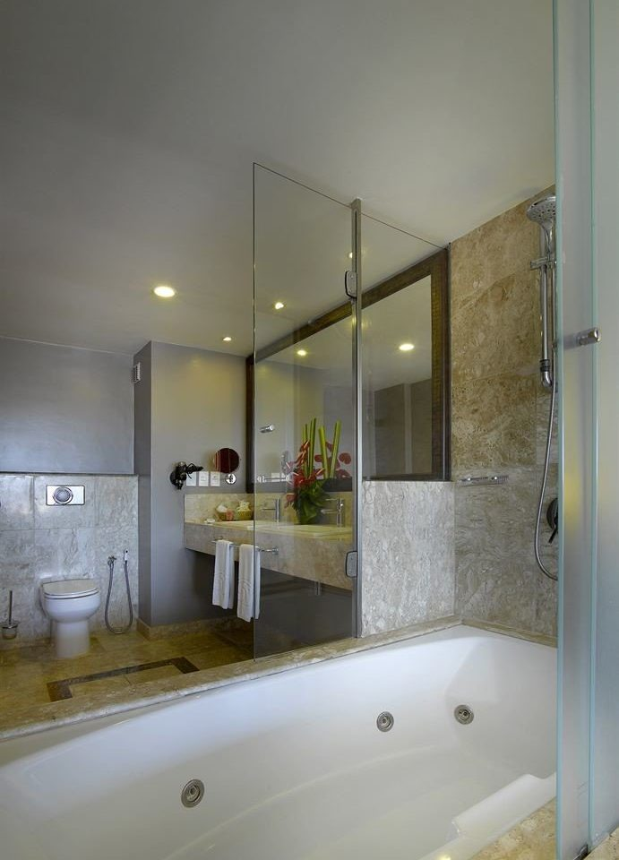 bathroom mirror sink property vessel house home lighting flooring tub Bath bathtub tile