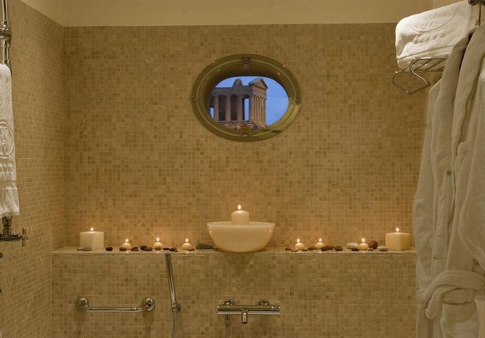 bathroom sink mirror towel lighting plumbing fixture tile toilet tiled Bath