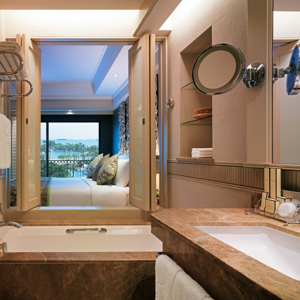 Bath Beachfront City Family Resort bathroom sink mirror property home house Suite cottage condominium mansion living room Villa tub bathtub