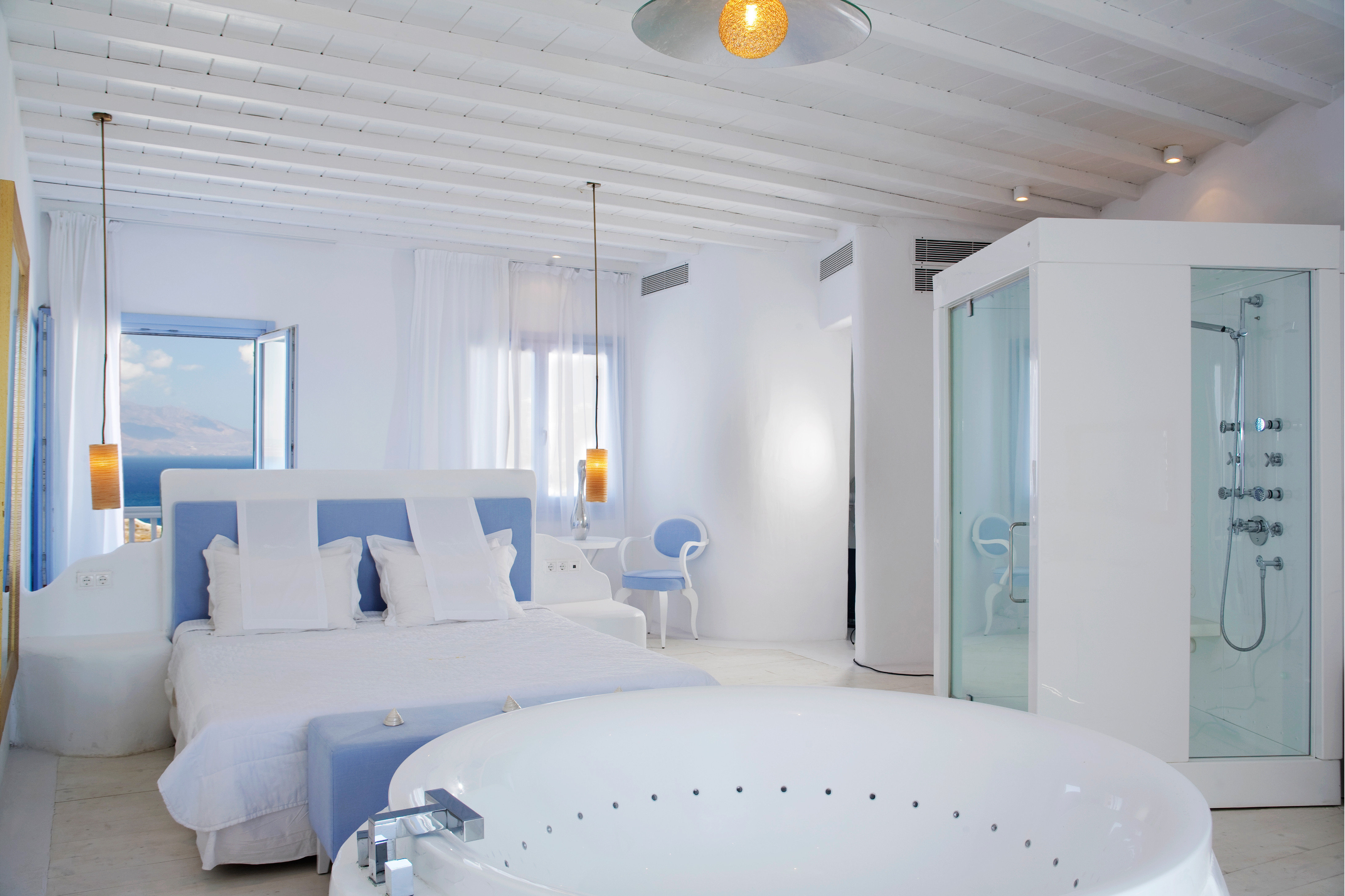 Bath Bedroom Boutique Hip Honeymoon Luxury Modern Romance Romantic Suite property swimming pool white sink bathtub