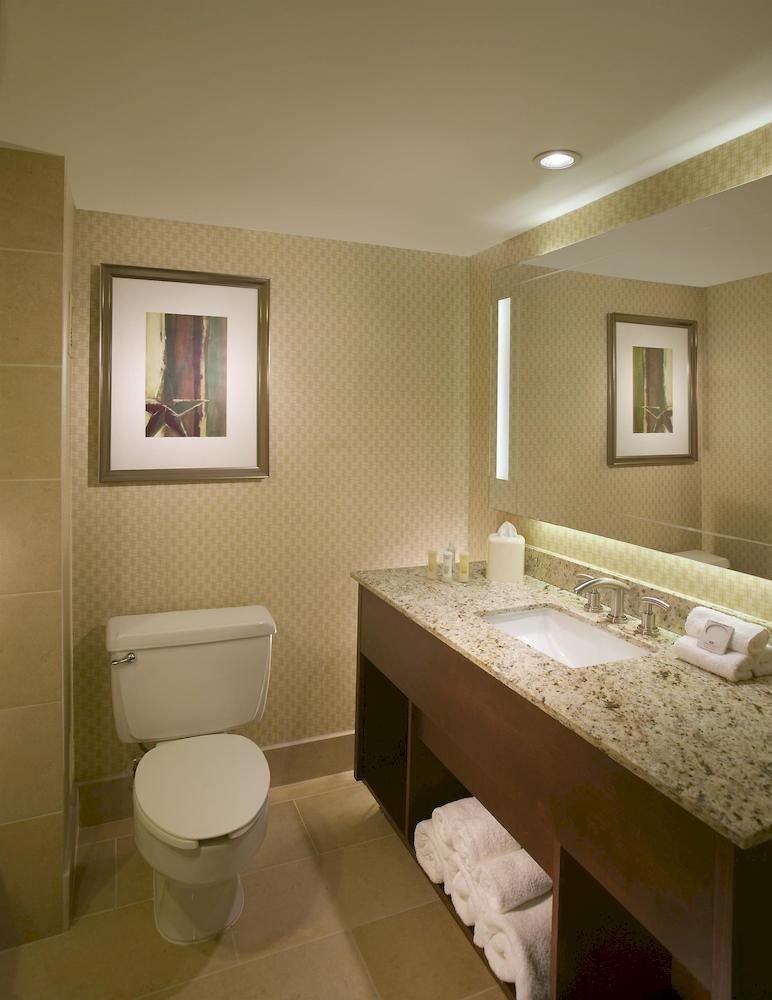 Bath Family bathroom sink mirror property toilet Suite home Bedroom tan