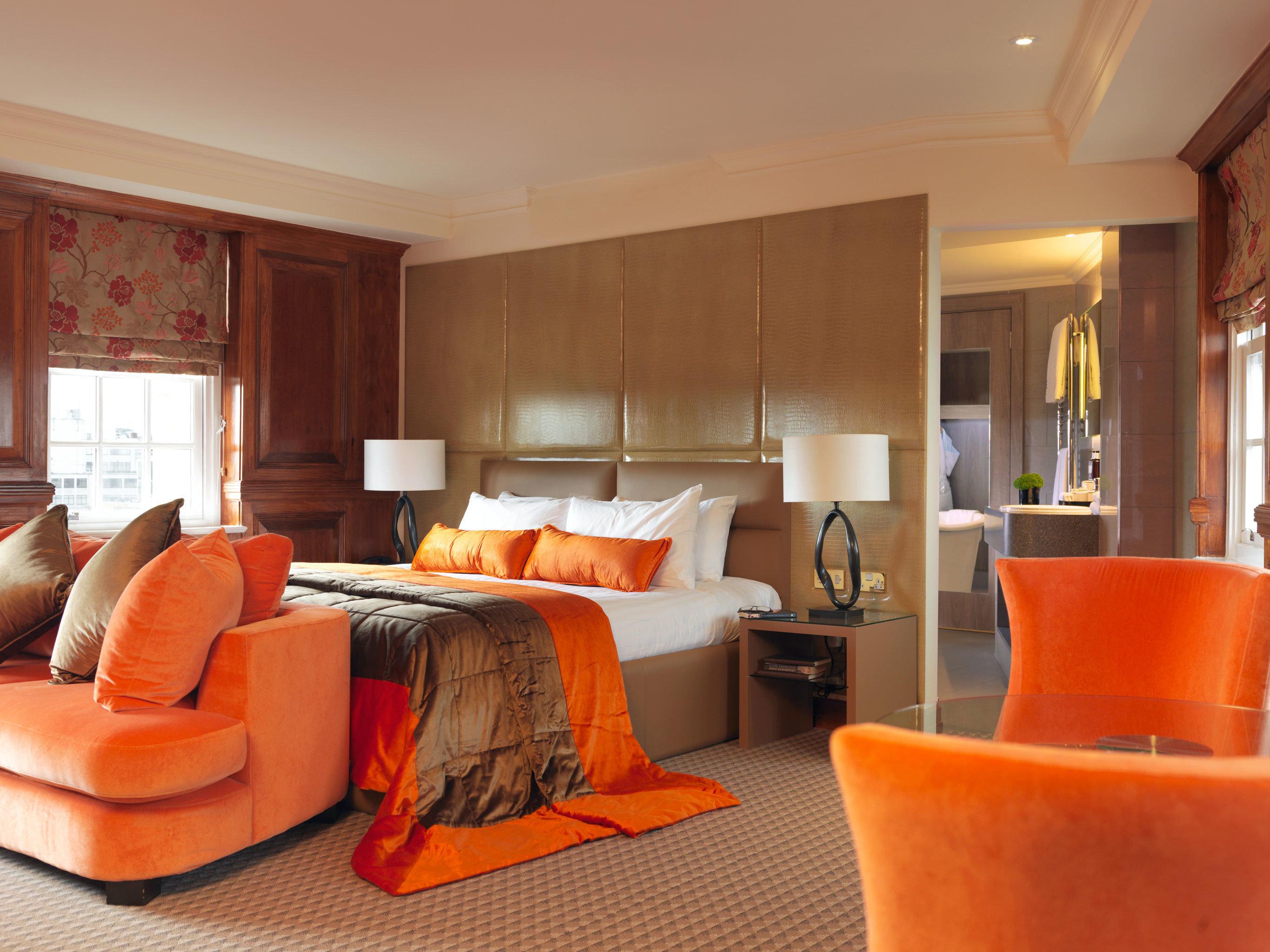 Bath Bedroom Lounge Modern Suite orange property living room home cottage sofa